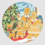 Gingerbread Family With Their Christmas Tree Classic Round Sticker