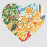 Gingerbread Family With Their Christmas Tree Stickers