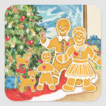 Gingerbread Family With Their Christmas Tree Sticker