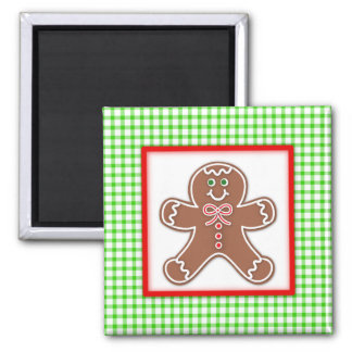 Gingerbread Friends Boy 2 Inch Square Magnet