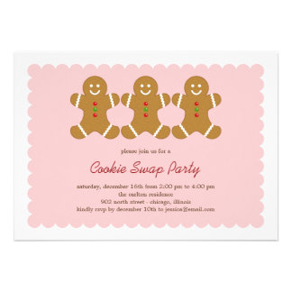 Gingerbread Friends Cookie Swap or Holiday Party Invite