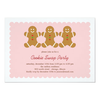 Gingerbread Friends Cookie Swap or Holiday Party 5x7 Paper Invitation Card