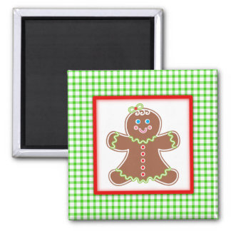 Gingerbread Friends Girl 2 Inch Square Magnet