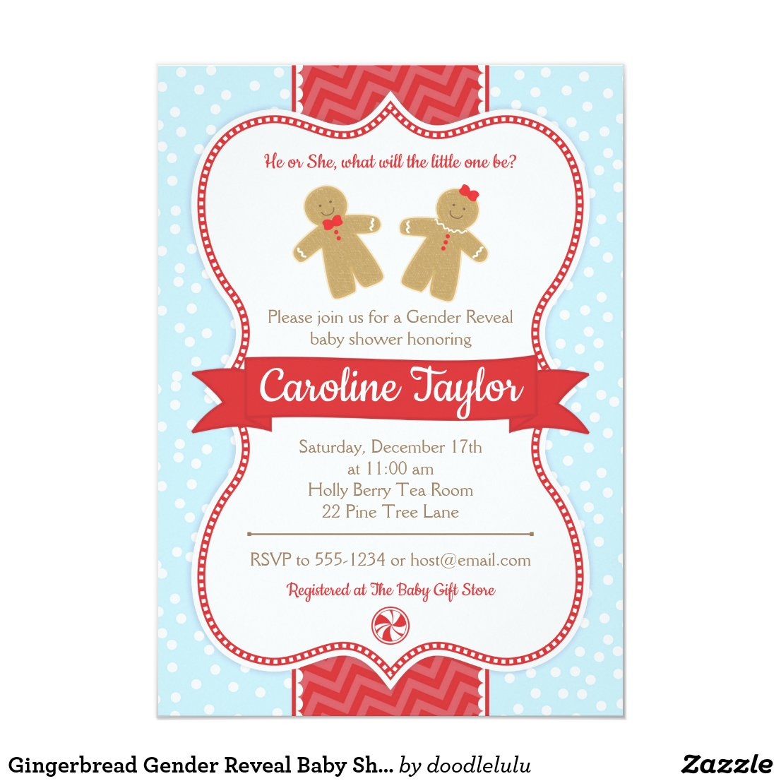 Gingerbread Gender Reveal Baby Shower Invitation