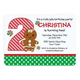 Gingerbread Girl 2nd Birthday Card