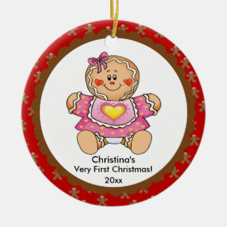 Gingerbread Girl Baby's First Christmas Ornament