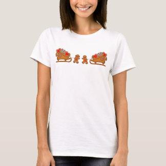 GINGERBREAD GIRL BOY & SLEIGH by SHARON SHARPE T-Shirt