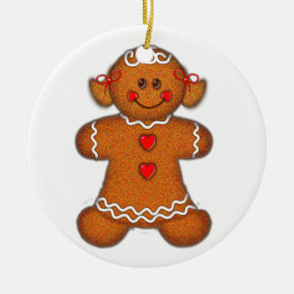 GINGERBREAD GIRL by SHARON SHARPE Double-Sided Ceramic Round Christmas Ornament
