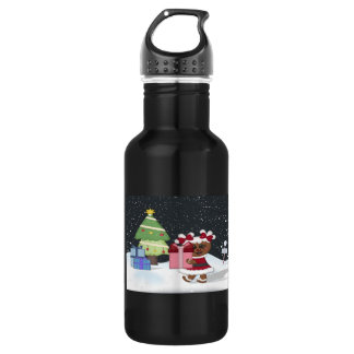 Gingerbread Girl, Christmas Tree, North Pole Sign 18oz Water Bottle