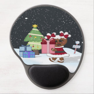 Gingerbread Girl Christmas Tree North Pole Sign Gel Mouse Mats