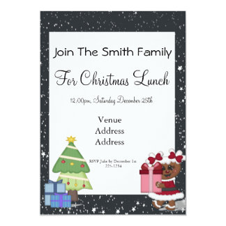 Gingerbread Girl, Christmas Tree, North Pole Sign Personalized Invitation