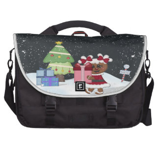 Gingerbread Girl, Christmas Tree, North Pole Sign Bag For Laptop