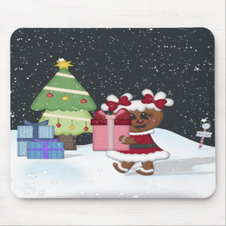 Gingerbread Girl Christmas Tree North Pole Sign Mouse Pad
