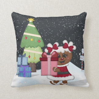 Gingerbread Girl, Christmas Tree, North Pole Sign Throw Pillow