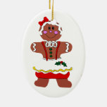 Gingerbread Girl Double-Sided Oval Ceramic Christmas Ornament