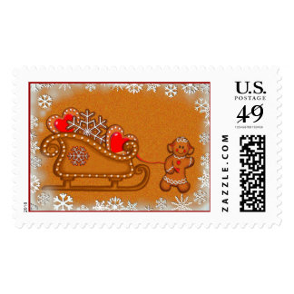 GINGERBREAD GIRL & SLEIGH by SHARON SHARPE Postage Stamp