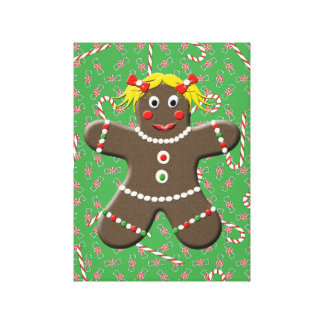 Gingerbread Girl With Christmas Candy Canvas Art