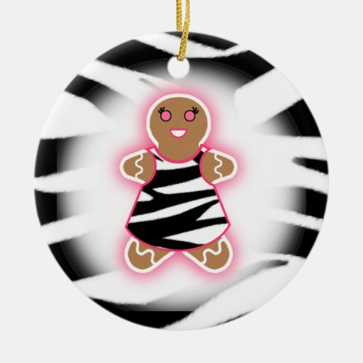 Gingerbread Girl - Zebra Print and Pink Christmas Ornaments