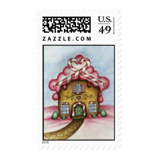 Gingerbread heart house postage stamp