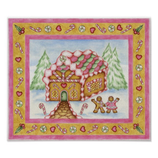 Gingerbread Heart House Poster