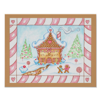 Gingerbread Heart House Print Poster