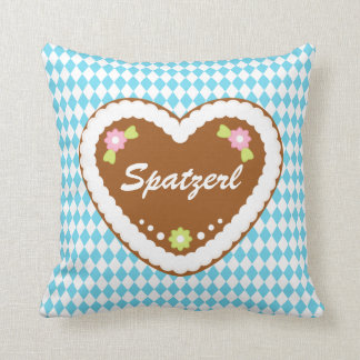 Gingerbread Heart on Bavarian Flag Pattern Throw Pillows