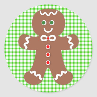 Gingerbread Holiday Boy Classic Round Sticker