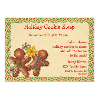 Gingerbread Holiday Cookie Swap Invitation