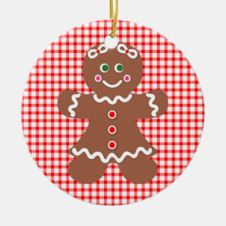 Gingerbread Holiday Girl and Boy Ceramic Ornament