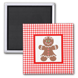 Gingerbread Holiday Girl 2 Inch Square Magnet