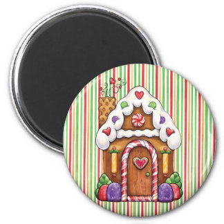 Gingerbread House 2 Inch Round Magnet