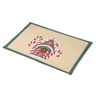 Gingerbread House and Candy Canes Holidy Placemat