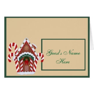 Gingerbread House and Candy Canes Holidy Stationery Note Card