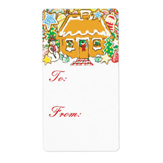 Gingerbread House and Cookies Christmas Gift Tags Shipping Label