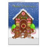 Gingerbread House and Family Christmas Greeting Ca Greeting Card