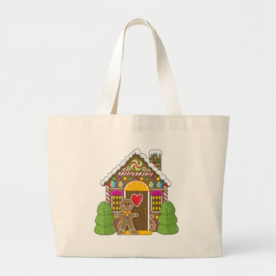 Gingerbread House and Man Large Tote Bag