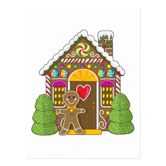 Gingerbread House and Man Postcard