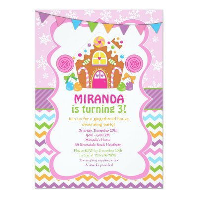 Pink gingerbread house birthday party invitations zazzle filmwisefo Images