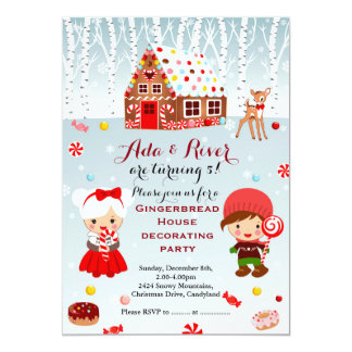 Gingerbread House Birthday Party Invitation
