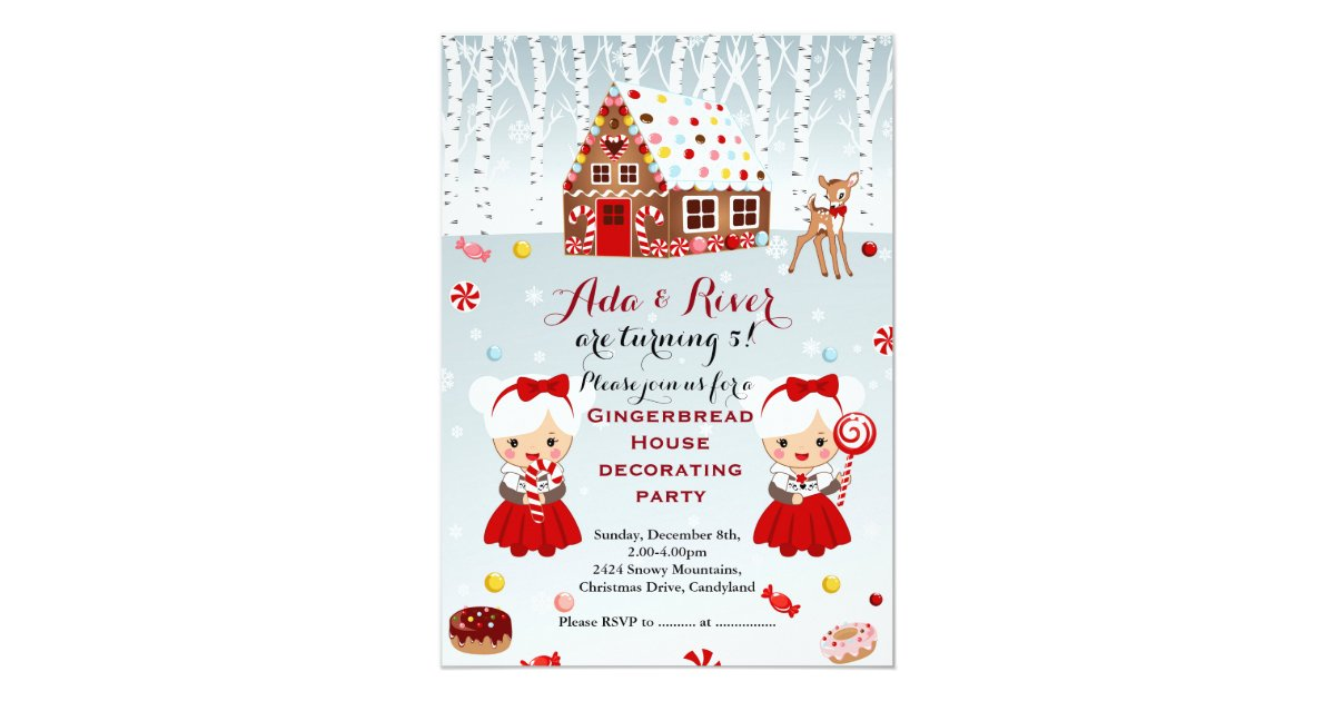 Gingerbread House Birthday Party Twins Invitation Zazzle Com