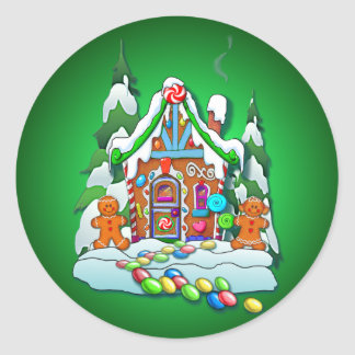 GINGERBREAD HOUSE by SHARON SHARPE Classic Round Sticker
