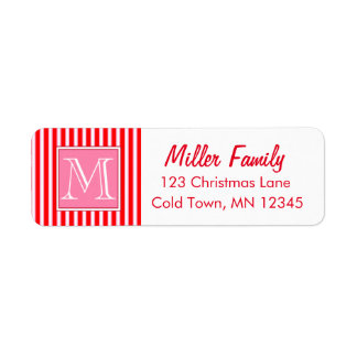 Gingerbread House Candy Cane Stripes Label