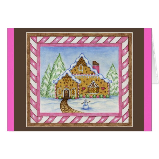 Gingerbread House Christmas Card with Pink