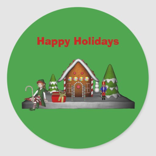 Gingerbread House Christmas Holiday Sticker Label