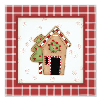 """Gingerbread House Christmas Party Invitations 5.25"""" Square Invitation Card"""