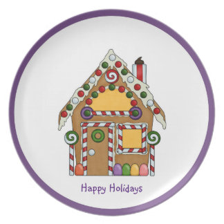 Gingerbread House Christmas Party Plates