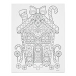 Gingerbread House Coloring Poster - Christmas Art