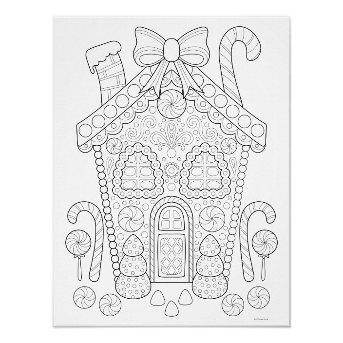 - Gingerbread House Coloring Poster - Christmas Art Zazzle.com