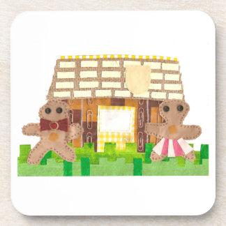 Gingerbread House Couple Cork Coasters