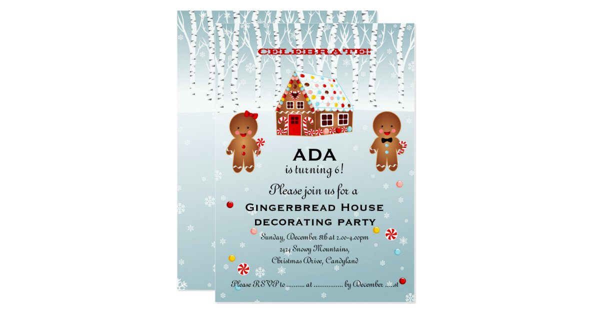 Gingerbread house decorating birthday invitation zazzle Gingerbread house decorating party invitations